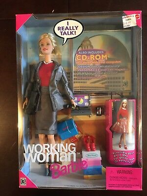 Mattel Vintage 1999 Working Woman Talking Barbie Doll with Accessories & CD-Rom