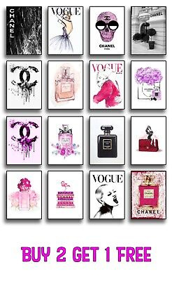 Fashion Art Prints Poster Vogue Wall Art Decor A4 Teal Perfume Tiffany Chanel