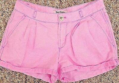 Juicy Couture Shorts Women s Size 0 Pink Pleated Mini Shorts Linen Blend bb03c3207