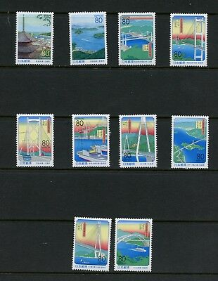 Q448  Japan  1999  bridges   10v.  MNH