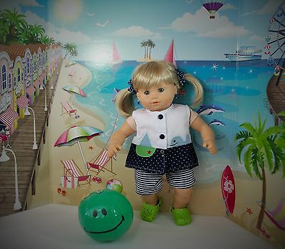 """Doll Dress Bitty Baby Twins Or Any 15"""" Dolls Beach Ball Clothes"""