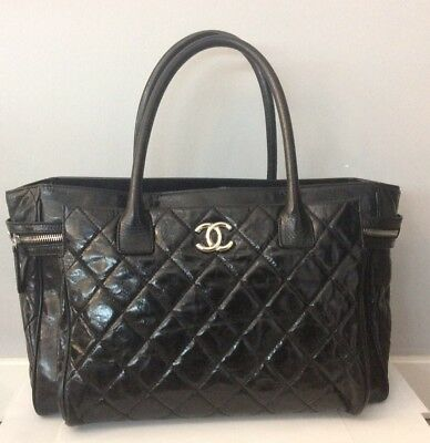 703b145a2af0 CHANEL PORTOBELLO TOTE Quilted Glazed Calfskin and Tweed Medium ...