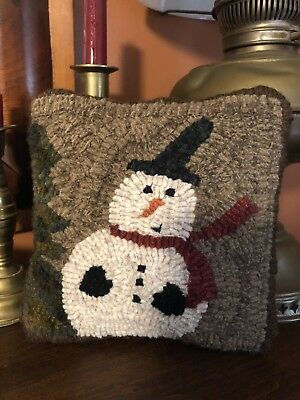 Prim Hooked Snowman Pillow