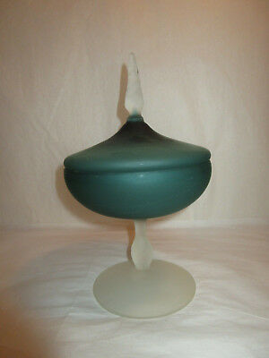 Antique Teal Frosted Glass Apothecary Jar Candy Dish Bowl Compote