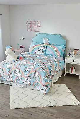 Justice UNICORN Bed in a bag Queen Comforter pillow 5 pc set NEW