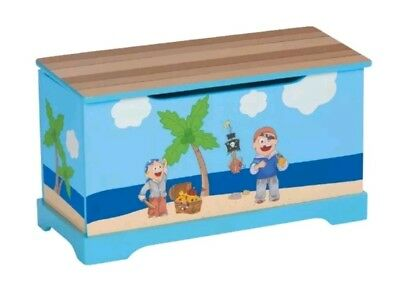 Boys toy chest wooden toy storage Pirate design