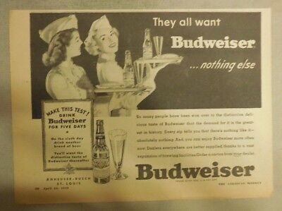 2 Small Budweiser Beer Ads: He Says there's Nothing Like It ! from 1940's
