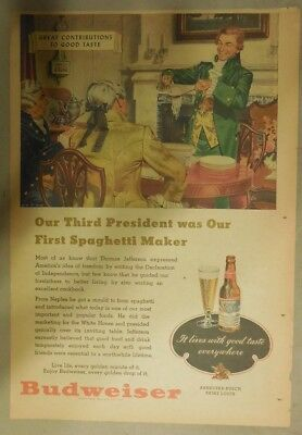 Budweiser Beer Ad: Thomas Jefferson Makes Makes First Spaghetti ! from 1940's