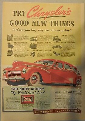 Chrysler Car Ad: 1940 Features from Newspaper Magazine.