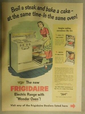 "Frigidaire Appliances Ad: New Electric Range with ""Wonder Oven"" from 1950's"