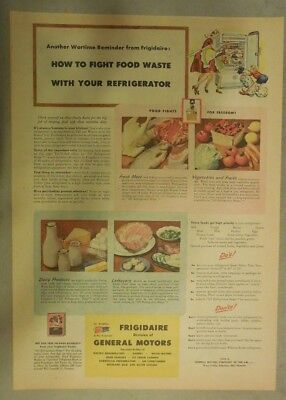 Frigidaire Refrigerator Ad: How To Fight Food Waste! from 1944