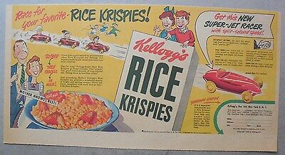 Kellogg's Cereal Ad: Rice Krispies Super Jet Racer Premium from 1949