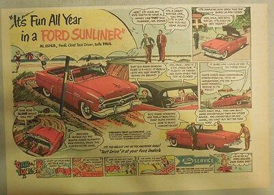 """Ford  Ad: """"It's Fun All Year in a Ford Sunliner Convertible""""  from 1952"""