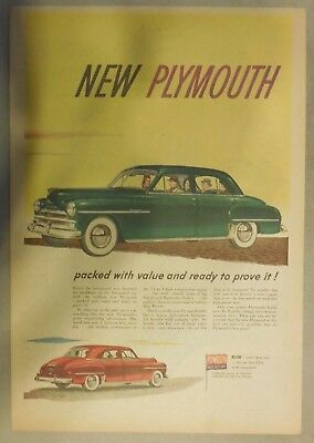 Plymouth Car Ad: The New 1950 Plymouth  Size: 11 x 15 Inches