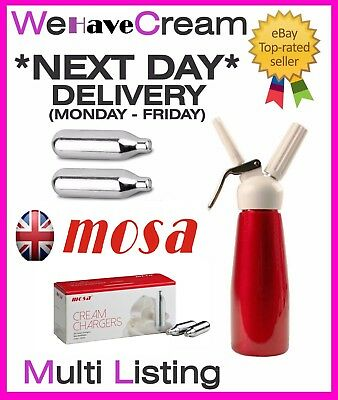 Brand New Mosa 8g NOS N2O NOZ Canisters Whipped Cream Chargers & Mosa Dispensers