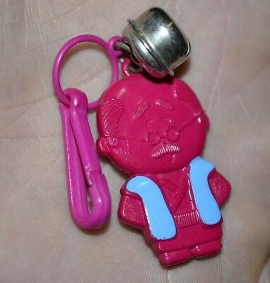 Vintage 80's Plastic Clip Charms Bell Necklace Pink Man in Blue Vest Retro Charm