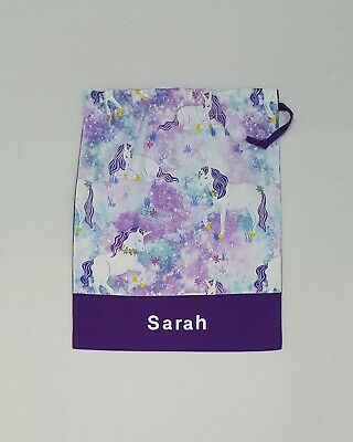 New $ Free Name Beautiful Unicorn Personalised Library Bag Girl Kinder Girl Fd