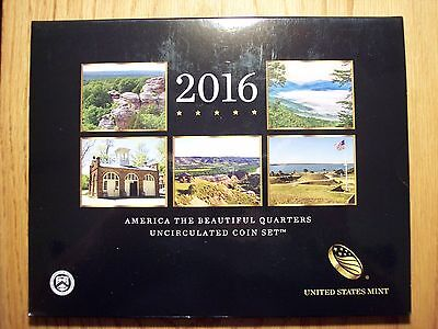 2016 P & D US Mint America the Beautiful Uncirculated 10 Coin Quarter Set 16AA02