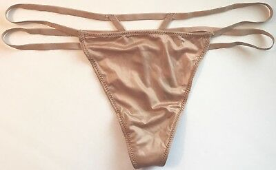 NWT VICTORIA/'S SECRET M L BLACK GOLD RING STRAPPY SMOOTH V STRING THONG PANTIES