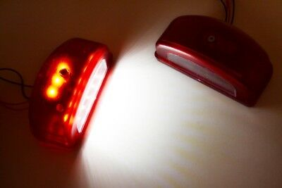 2x LED Red Lights + White Number License Plate Lamps 12/24V Bus Truck Lorry Van