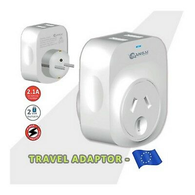Travel Adapter 2 USB Outlets Power Socket to Plug Australia To Europe/Bali