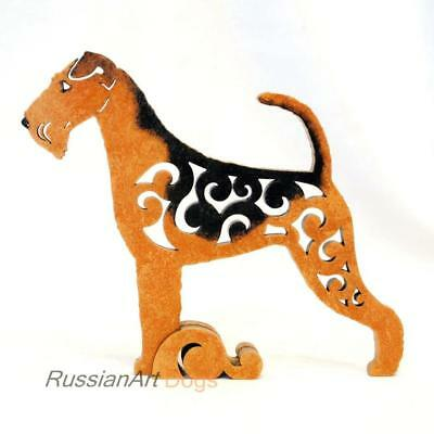 Airedale Terrier Dog figurine, statuette made of wood