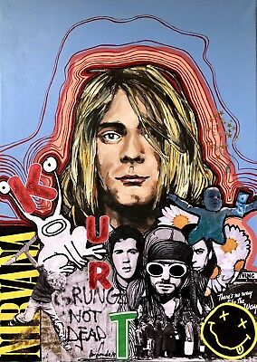 Kurt Kobain  Art , Acrilic On Canvas , Grunge Not Dead