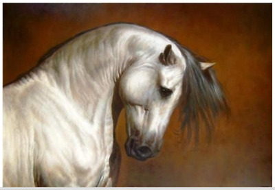 Huge Oil painting beautiful animal running white horse on canvas 24x36inch