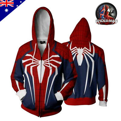 Spider-Man PS4 3D Printing Hoodie Sweatshirt Adult Cosplay Costume Jacket