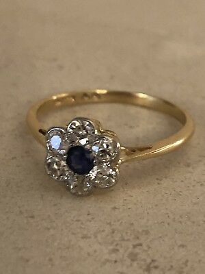 ad01dc1132d8b FINE ART DECO EDWARDIAN ANTIQUE 18ct GOLD SAPPHIRE AND DIAMOND DAISY RING  SIZE M