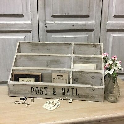 Large French Chic Grey Wooden Letter Rack Post Tray Desk Vintage Shabby Tidy