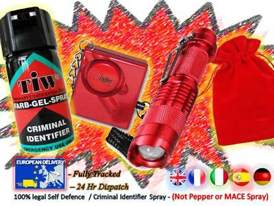 FARBGEL + Attack Alarm + CREE Torch + Carry Pouch = (The RED CREE Defence Pack)