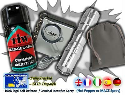FARBGEL + Attack Alarm + 3w Torch + Pouch=(The SILVER 3w Personal Defence Pack)