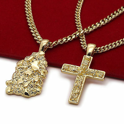 "Men's 14k Gold Plated High Fashion 2 pc Nugget & Cross 3mm 30"" & 24"" Cuban Chain"