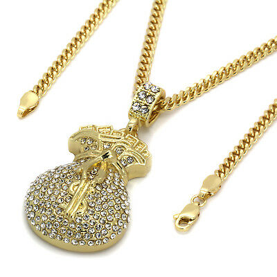 Mens 14k Gold Plated Cash Money Bag $ Hip-Hop Pendant 3mm Cuban Chain Necklace