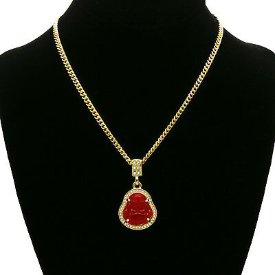 "14K Gold Plated  Red Jade Buddha  Pendant w/ 3mm Cuban Chain (24"", 27"",  30"" )"