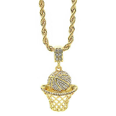 """Mens 14k Gold Plated Hip Hop Basketball """"Cz"""" Iced Pendant 4mm 24"""" Rope Chain"""