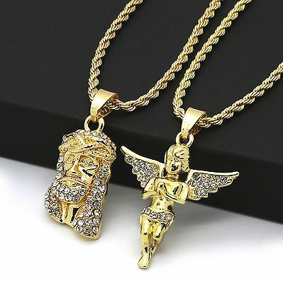"14k Gold Plated High Fashion 2 pcs CZ Jesus & Angel 2mm 30"" & 24"" Rope chain 02"