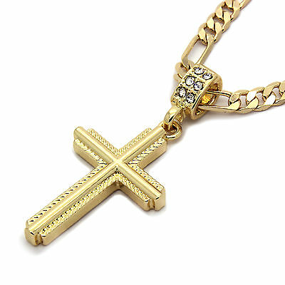 "Mens 14k Gold Plated Braided Cross Pendant With 24"" inches Figaro Necklace Chain"