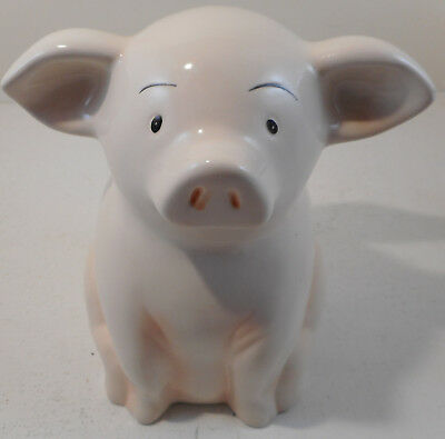 "When Pigs Fly Piggy Bank Flying Pig Money Coin 7"" Creamic Hog"