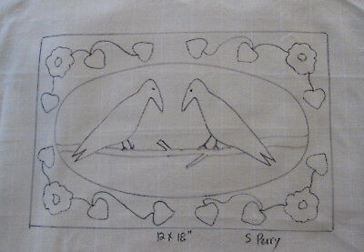 Chatting Crows Primitive Rug Hooking or Punch Needle pattern on monks cloth