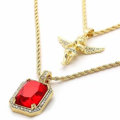 Men 14k Gold Plated High Fashion 2 pcs Simulated Ruby & Angel 2mm 30 & 24 Rope