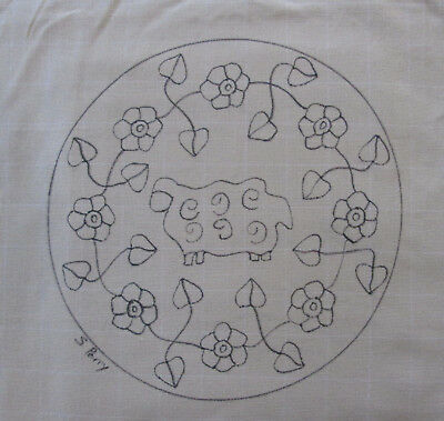 Sheep on Round Primitive Rug Hooking or Punch Needle pattern on monks cloth