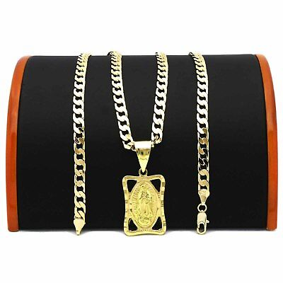 """Mens 18k Gold Plated   Virgin Guadalupe 5mm 24""""Flat Cuban Necklace Chain(H)"""