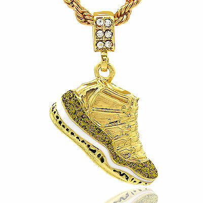 """Mens 14k Gold Plated Hip Hop Retro 11 """"Championship"""" Pendant 4mm 24"""" Rope Chain"""
