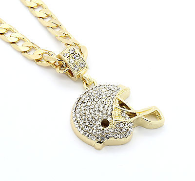 """Mens Gold Plated Iced Out Football Helmet Small Pendant 24"""" Cuban Necklace Chain"""