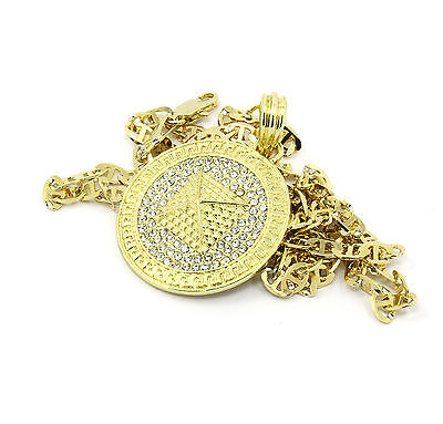 b00078c6b103c MENS MEDALLION PYRAMID Pattern Gold Plated Clear 24