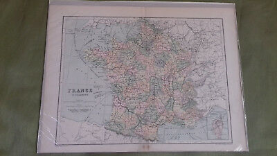 Victorian Antique Vintage Map France In Departments George Philip & Son  1800's
