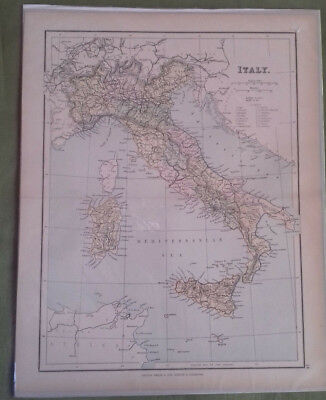 Circa 1880 Victorian  Antique Map Of Italy George Philip & Sons