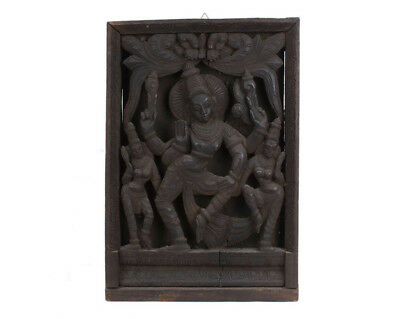 Südindien 20. Jh. Holz -A South Indian Carved Wood Relief Panel Krishna & Gopis